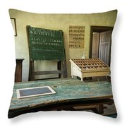 An Old Classroom With Blackboard And Boards With Old Script Throw Pillow