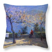 Angelo Morbelli 1853-1919, Spring In Colma - 1906 Throw Pillow