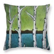 Aspen Trees On The Lake Throw Pillow