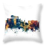Athens Greece Skyline Throw Pillow