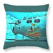 B-17 Aluminum Overcast Pin-up Throw Pillow