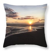 Beach Sunset, Blackpool, Uk 09/2017 Throw Pillow