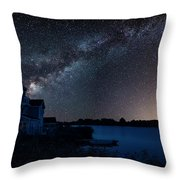 Beautiful Night Sky Astrophotography Landscape Image Of Milky Wa Throw Pillow