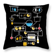 Beer Brewing Schematic Brewer Brewery Gift Throw Pillow