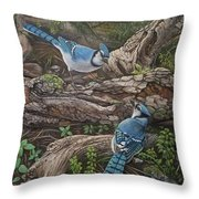 Blue Jay Stand Off Throw Pillow