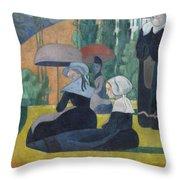 Breton Women With Umbrellas  Throw Pillow