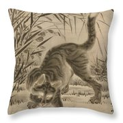 Cat Catching A Frog Throw Pillow