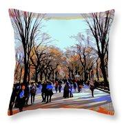 Central Park Mall Throw Pillow