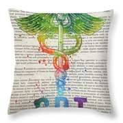Certified Personal Trainer Gift Idea With Caduceus Illustration  Throw Pillow