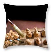 Chess Board And Bullets. Throw Pillow
