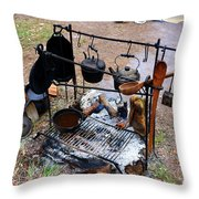 Cooking In The 1800s  Throw Pillow