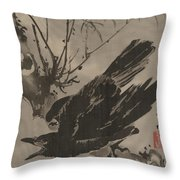 Crow On A Branch Throw Pillow