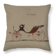 Design For Cabriolet Or Victoria, No. 3558  1879 Throw Pillow
