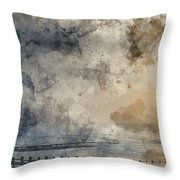 Digital Watercolor Painting Of Beautiful Dramatic Foggy Winter S Throw Pillow