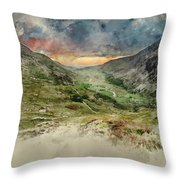 Digital Watercolor Painting Of Beautiful Dramatic Landscape Imag Throw Pillow