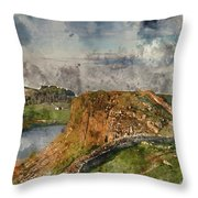 Digital Watercolor Painting Of Beautiful Landscape Image Of Hadr Throw Pillow