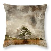 Digital Watercolor Painting Of Beautiful Vibrant Autumn Fall Tre Throw Pillow
