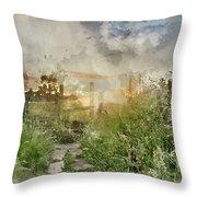 Digital Watercolor Painting Of Beautiful Vibrant Summer Sunrise  Throw Pillow