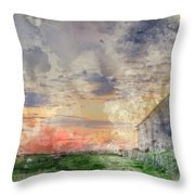 Digital Watercolor Painting Of Old Barn In Landscape At Sunset Throw Pillow