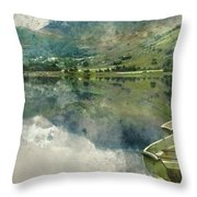 Digital Watercolor Painting Of Panorama Landscape Rowing Boats O Throw Pillow