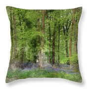 Digital Watercolor Painting Of Stunning Bluebell Forest Landscap Throw Pillow
