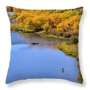 Distant Fisherman On The San Juan River In Fall Throw Pillow