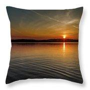 Dog Lake Sunset Throw Pillow