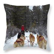 Dog Sledding Near Whitehorse Yukon Canada Throw Pillow