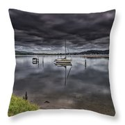 Early Morning Clouds And Reflections On The Bay Throw Pillow