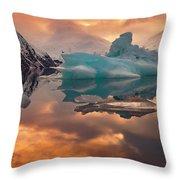 Sunset On Iceberg Throw Pillow