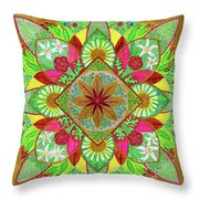 Flower Garden Mandala Throw Pillow