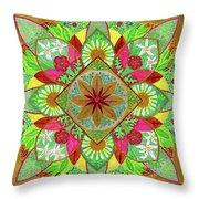 Flower Garden Mandala Throw Pillow