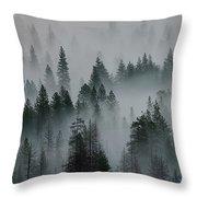 Foggy Yosemite Throw Pillow