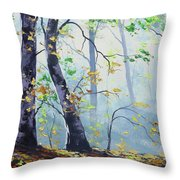 Forest Sunrays Throw Pillow