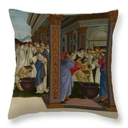 Four Scenes From The Early Life Of Saint Zenobius  Throw Pillow
