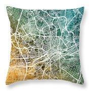 Frankfurt Germany City Map Throw Pillow