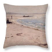From The Beach At Sele  Throw Pillow