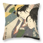 Geisha And Attendant On A Rainy Night Throw Pillow