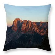 Glowing Mountains Throw Pillow