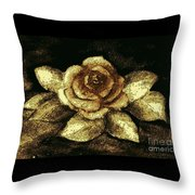 Antique Gold Rose Throw Pillow