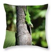 Green Lizard Throw Pillow