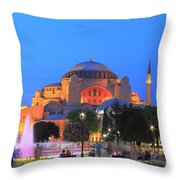 Hagia Sophia At Night Istanbul Turkey  Throw Pillow