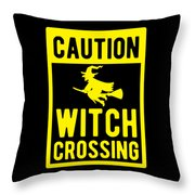 Halloween Shirt Caution Witch Crossing Gift Tee Throw Pillow