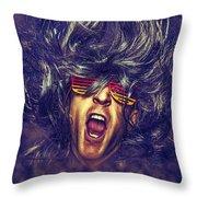 Heavy Metal Rock Star Throw Pillow