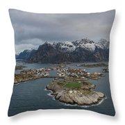 Henningsvaer Lofoten Throw Pillow