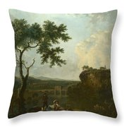 Holt Bridge On The River Dee  Throw Pillow