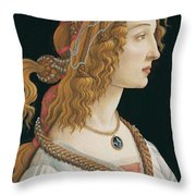 Portrait Of A Young Woman, Portrait Of Simonetta Vespucci As Nymph Throw Pillow