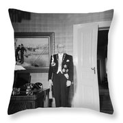 In The Photo The New President Of The Republic Urho Kekkonen Is Photographed At The Presidential Pa Throw Pillow