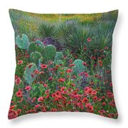 Indian Blanket Flowers And Opuntia Throw Pillow