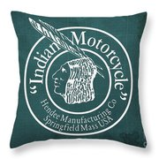 Indian Motorcycle Old Vintage Logo Green Background Throw Pillow